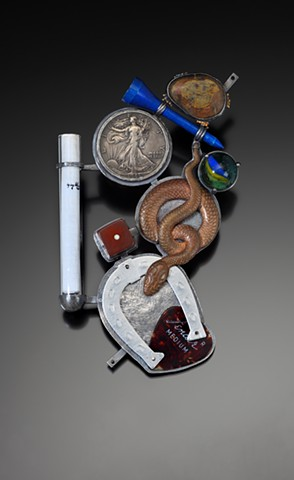 Anika Smulovitz, mezuzah amulet found objects luck dice coins marble lucky charms judaica sterling silver