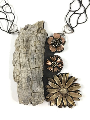 Smulovitz, Anika, Journal Entries Necklace, Hiking: Shoshone-Paiute Tribes Loop, sterling silver, copper, brass, found wood, art jewelry