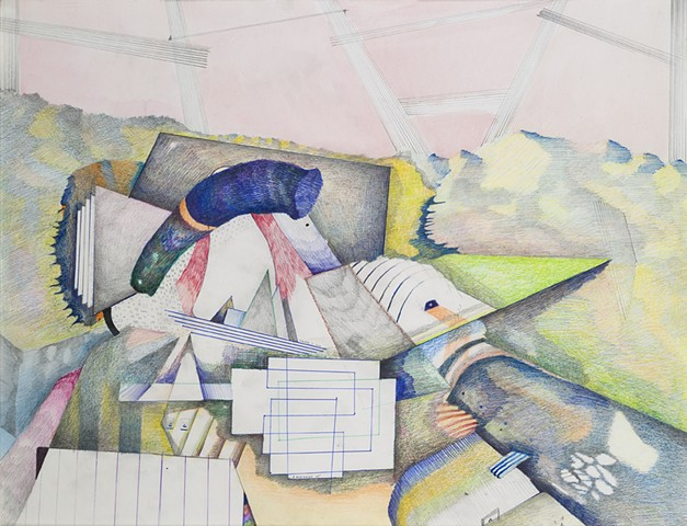 Mixed media drawing imaginary landscapes