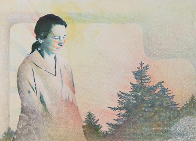 Agnes Martin contemplating life