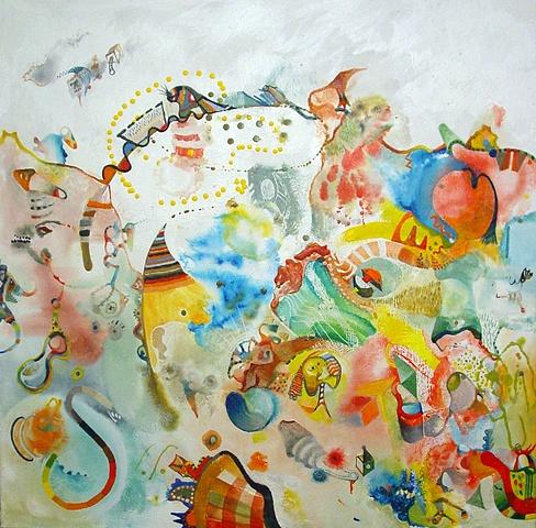Whimsy rhythm figures poems wax encaustic