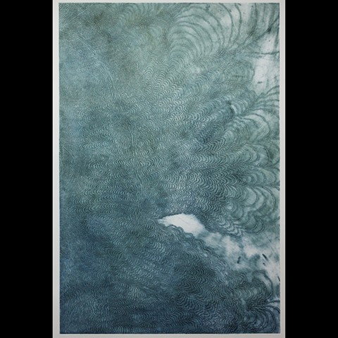 single layer etching made with hand ground blue earth pigment
