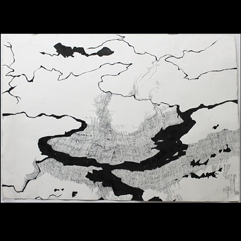 sumi ink drawing of an abstracted river landscape