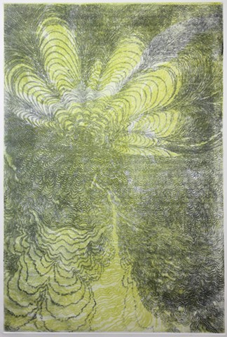 intaglio etching of the central portion of an exploded, abstracted scallop image
