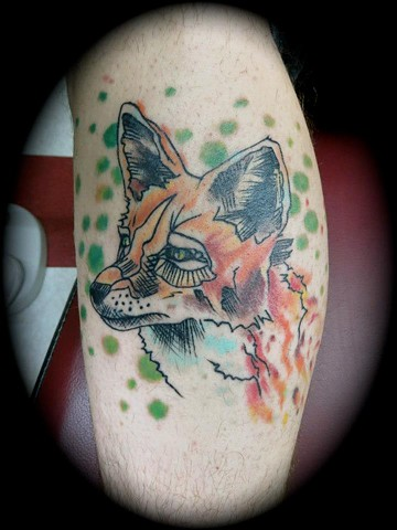 polka trash fox water color tattoo