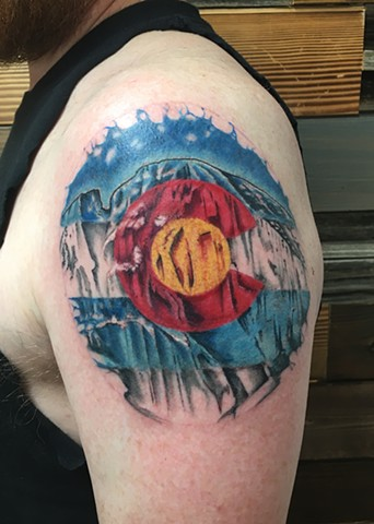 colorado water color mountains/Longs Peak tattoo