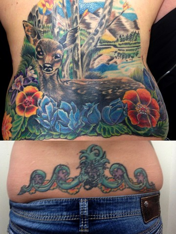 Deer tattoo, cover up