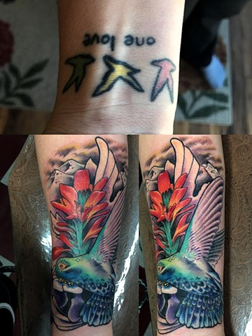 humming bird cover up tattoo