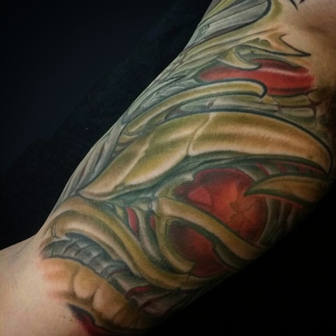 Biomechanical half sleeve tattoo