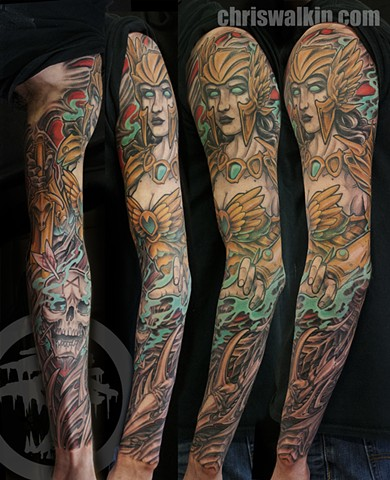Cybermech Valkyrie biomech sleeve tattoo