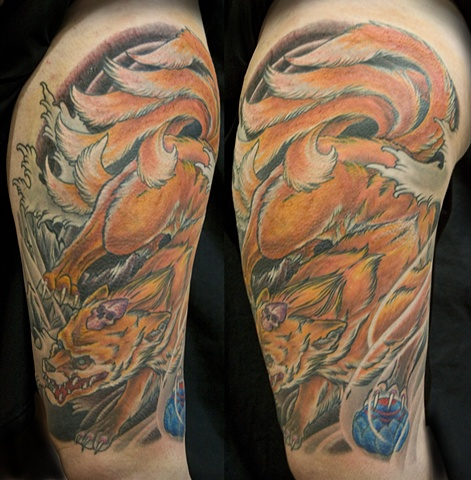 Japanese Kitsune Thigh  Tattoo done at Iron Cypress in Lake Charles Louisiana