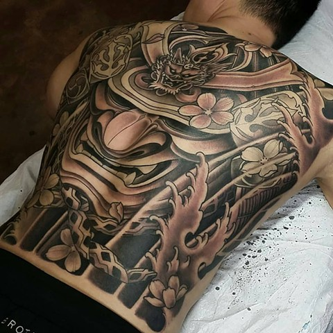 Samurai Japanese backpiece tattoo