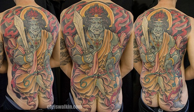 Fudo Myoo Japanese Backpiece done at Iron Cypress Lake Charles Louisiana
