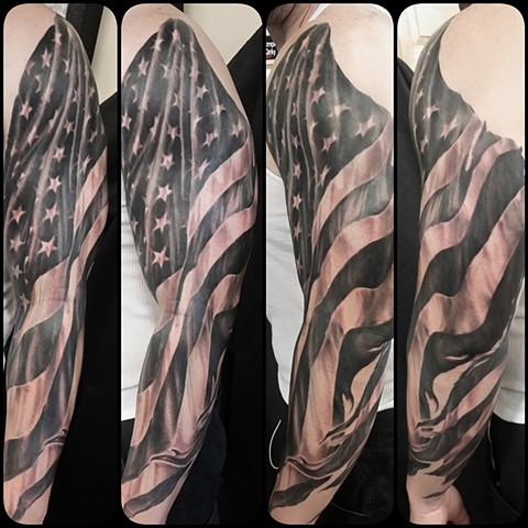 American flag sleeve tattoo Chris walkin lake Charles louisiana