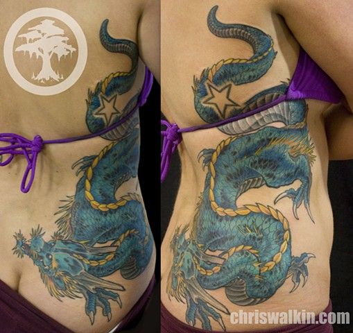 Japanese Dragon ribs  Tattoo done at Iron Cypress in Lake Charles Louisiana