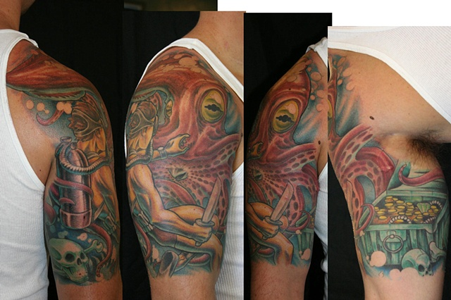 diver and squid tattoo iron cypress  lake charles louisiana