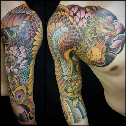 Japanese Phoenix three quarter sleeve tattoo
