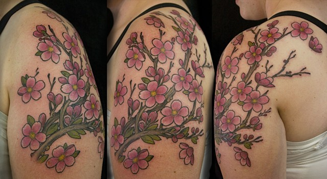 Japanese Sakura cherry blossom branch  Tattoo done at Iron Cypress in Lake Charles Louisiana