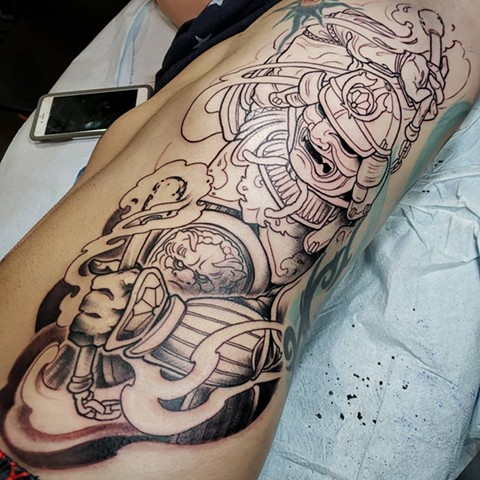 Rib samurai tattoo fire chuck