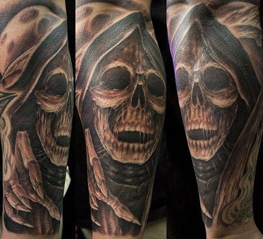 reaper black and grey  Tattoo done at Iron Cypress in Lake Charles Louisiana