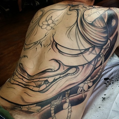 Hannya mask backpiece tattoo