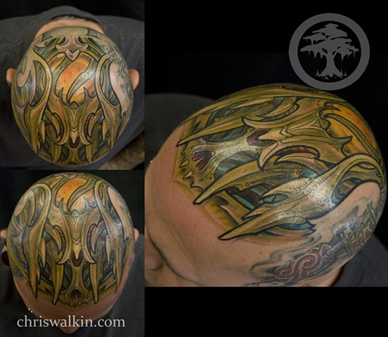 Biomechanical head  Tattoo done at Iron Cypress in Lake Charles Louisiana