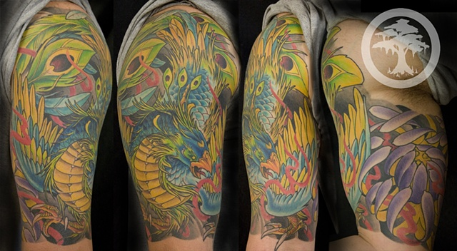 Japanese Phoenix Tattoo coverup done at the Iron Cypress in Lake Charles Louisiana