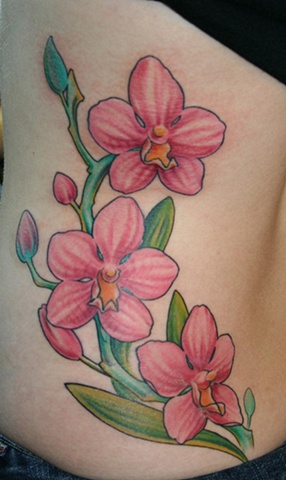 orchids flower  tattoo lake charles louisiana