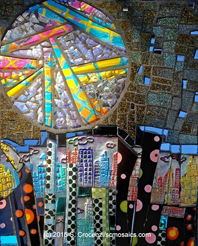 mixed-media mosaic made of handmade polymer clay tile, ceramic, tempered glass mosaic, textured, and regular glass, and mirror