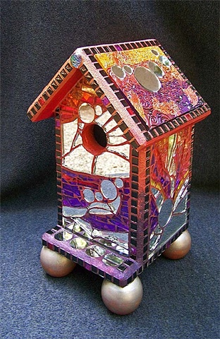 tempered glass mosaic, polymer clay mosaic, mirror, mosaic birdhouse