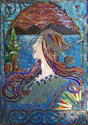 tempered glass mosaic, alphonse mucha, stained glass mosaic, polymer clay