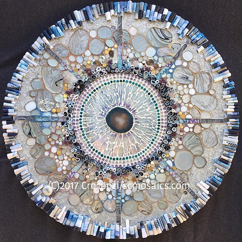 Mixed-media mosaic with polymer clay tiles, tempered glass mosaic, glass, crystals, amethyst, 24k smalti