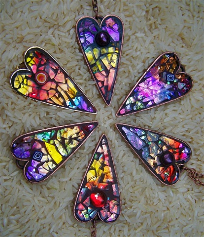 glass mosaic jewelry heart pendants