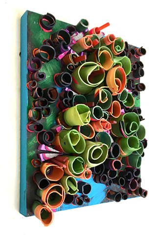 Handmade polymer clay tubes and colored mortar