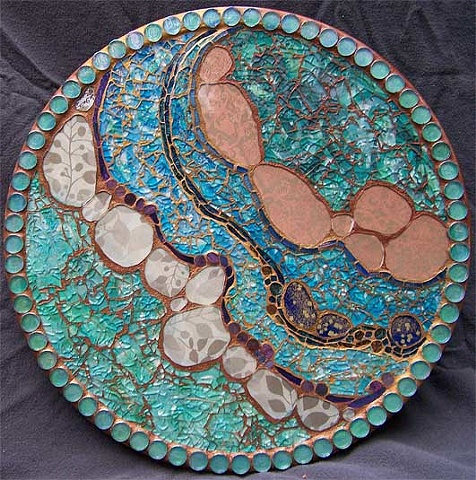 Made with tempered glass mosaic, plate glass, vitreous and VanGogh glass.
