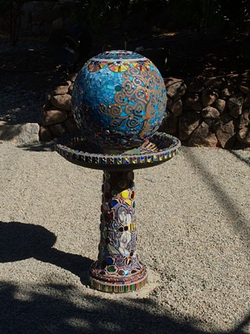 glass mosaic pedestal, birdbath, and globe garden mosaic commission