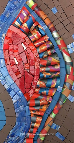mosaic with polymer clay tile-tubes, glass, smalti, and unglazed porcelain