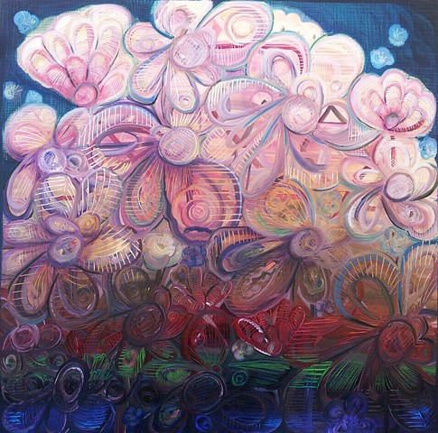 merchantofcolor.com ivy medina norman oklahoma oil on canvas entheogenic flowers paradise painting