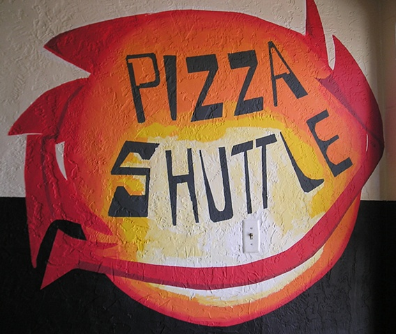 Pizza Shuttle Norman, OK, mural by Ivy Medina