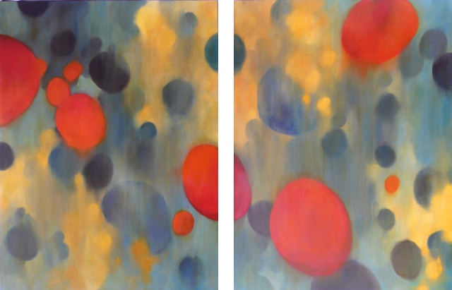 This piece is a diptych of two large abstract paintings.