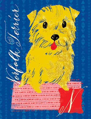 norfolk terrier dog alphabet digital