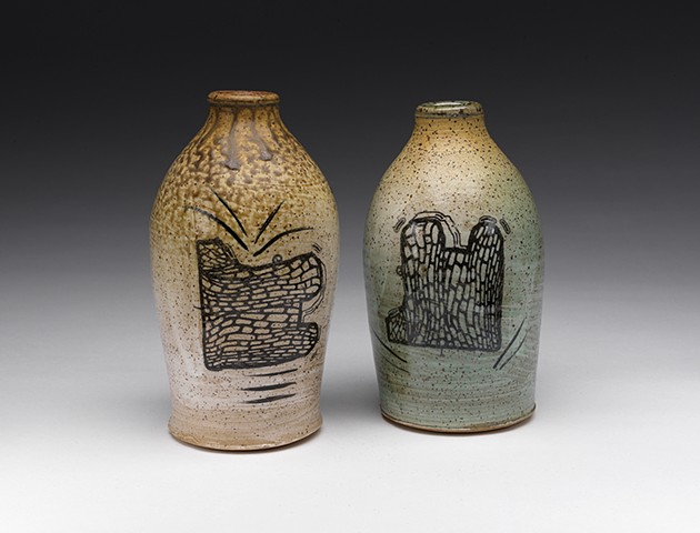 Bottles with decals, glazes