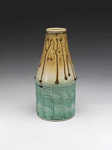 Faceted vase, with glaze, overfired fake ash glaze