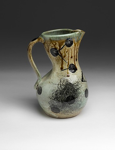 Altered Pitcher with decals, glazes