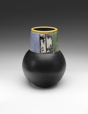 Vase w. decals, black matte