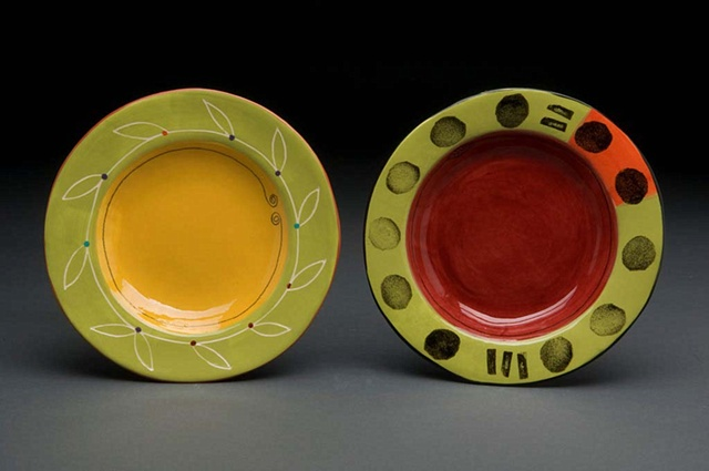 Yellow & Red Shallow Bowls