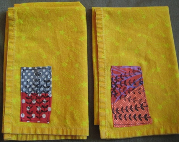 Napkins with Applique and Fabric Ink  Sold