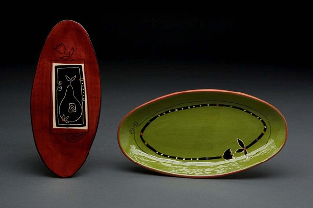 Green & Red Oval Dishes