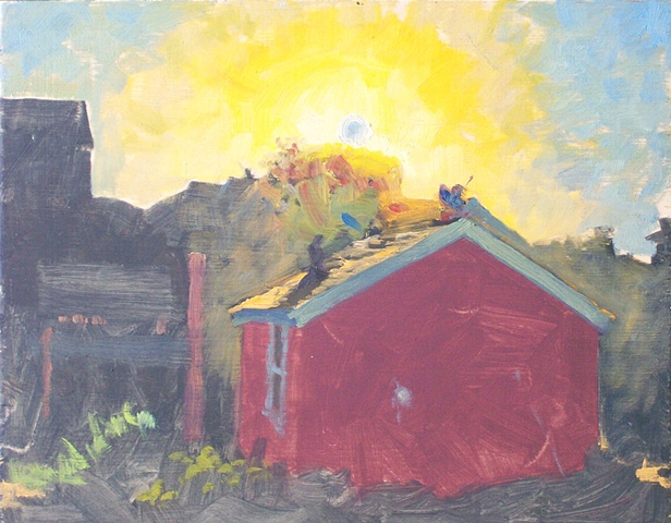 red house sunrise study