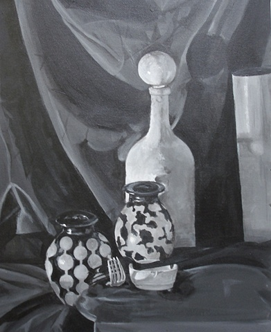 Painting in Black and White Still Life